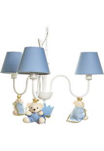 Lustre 3L Simples Com 3 Ursinhos Príncipes Bebê Infantil Potinho De Mel Azul - Kanui