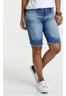 Bermuda Feminino Jeans Puídos Desfiado Biotipo