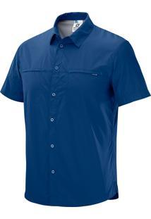 Camisa Stretch Masculina Azul M - Salomon