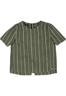 Blusa Estampada Em Tecido De Viscose Com Fenda Na Barra