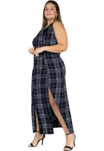 Vestido Longo Xadrez Preto Com Fendas Plus Size