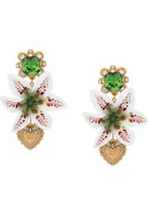 Dolce & Gabbana Par De Brincos Florais - Branco