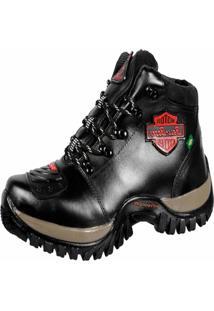 Bota Motoqueiro Em Couro Bell-Boots Preto
