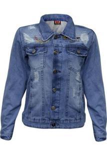 Jaqueta Traxart Jeans Feminina - Feminino-Azul