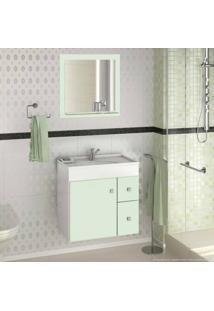 Conjunto Com Gabinete, Pia E Espelho Vitória 100% Mdf Branco/Verde Água - Mgm Móveis