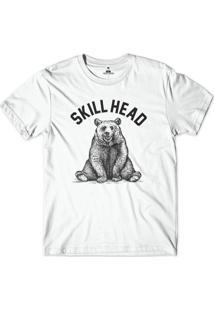 Camiseta Skill Head Urso Pardo Branco