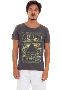 Camiseta Estonada Corte À Fio Estampada Joss Pink Floyd 1972 Chumbo
