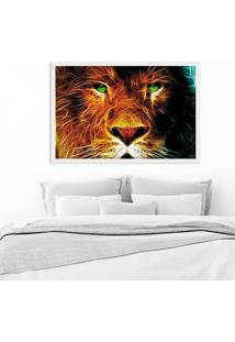 Quadro Love Decor Com Moldura Leão Branco Médio