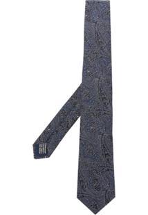 Saint Laurent Gravata Com Padronagem Paisley - Azul