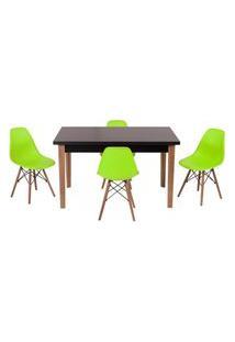 Conjunto Mesa De Jantar Luiza 135Cm Preta Com 4 Cadeiras Eames Eiffel - Verde