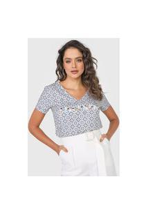 Camiseta Lança Perfume Logo Off-White/Azul