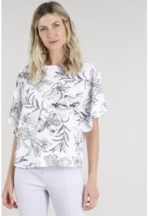 Blusa Feminina Ampla Com Estampa Floral Manga Curta Decote Redondo Off White