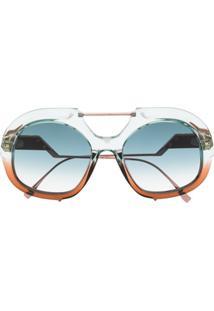 Fendi Eyewear Óculos De Sol Oversized Ff - Marrom