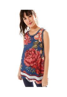 Camiseta Regata Farm Rio Tela Floral Safira - Feminina - Azul Escuro