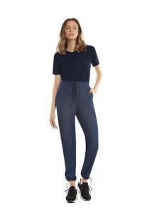 Calça Zinco Jogger Cós Alto Mix De Tecidos Jeans