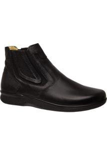 Bota Couro Esporão Floater Doctor Shoes Masculina - Masculino-Preto
