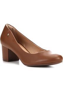 Scarpin Shoestock Salto Bloco - Feminino-Avelã