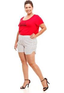 Shorts Melinde Plus Size Granitê Listrado Feminino - Feminino-Branco