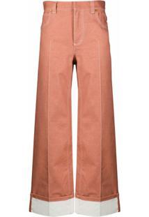 Chloé Calça Pantalona Com Pesponto Contrastante - Rosa