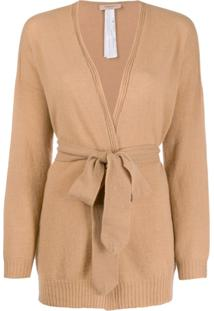 Twin-Set Belted Wrap Cardigan - Marrom