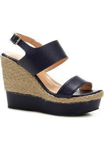 Sandália Plataforma Couro Shoestock Corda Feminina
