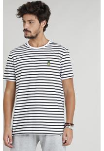 Camiseta Masculina Estampada Listrada Com Bordado De Abacaxi Manga Curta Gola Careca Branca