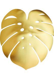 Kit Jogo Americano 4Pçs Plástico Garden Leaf Dourado 44X38Cm Lyor