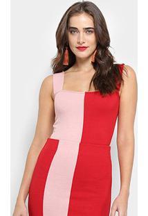 Body Farm Tricot Bicolor - Feminino-Vermelho
