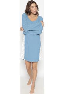 Camisola Canelada Com Renda- Azul & Branca- Jogãªjogãª