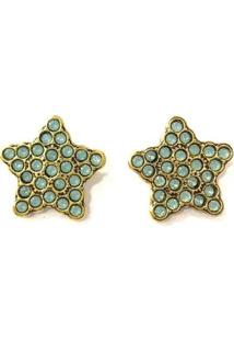 Brinco Armazem Rr Bijoux Estrela Cristal Swarovski Azul - Feminino-Dourado