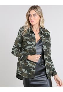 Camisa De Sarja Feminina Estampada Camuflada Com Bolsos Manga Longa Verde Militar