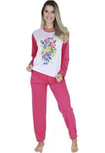 Pijama Longo Bravaa Modas Feminino 010 Pink