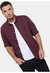 Camisa Xadrez Acostamento Manga Longa Masculina - Masculino-Bordô