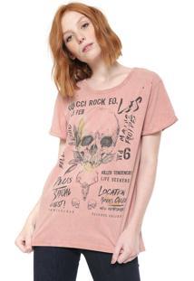Camiseta Colcci Destroyed Rosa