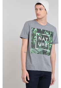 """Camiseta Masculina """"Nature"""" Manga Curta Gola Careca Cinza Mescla"""