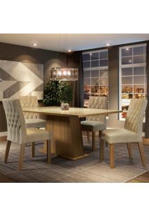 Conjunto Sala De Jantar Madesa Grazi Mesa Tampo De Vidro Com 4 Cadeiras Marrom - Tricae