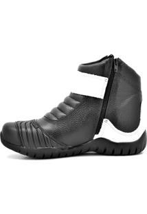 Bota Coturno Atron Shoes Motociclista Em Couro Preto/Branco