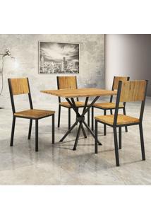 Conjunto De Mesa De Jantar Lizzi Com 4 Cadeiras Madeira E Preto