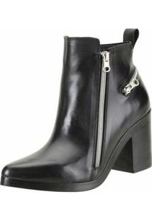 Bota Media Zipper - Feminino-Preto