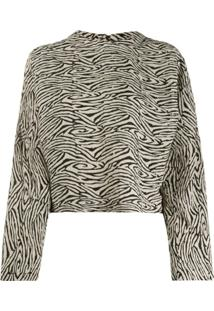 Nanushka Blusa Com Estampa De Zebra - Preto
