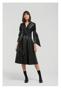 Vestido Midi Decote Transpassado Com Faixa Preto Pp