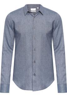 Camisa Masculina Slim Geneva Texturas - Azul