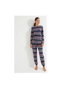 Pijama Toque Suave Manga Longa E Calça Com Estampa Nordica | Lov | Azul | M