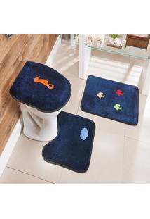 Jogo De Banheiro Bordado 3 Peã§As Antiderrapante Fundo Mar Azul Marinho - Multicolorido - Dafiti