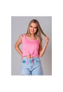 Blusa Feminina Sem Manga De Tricot Verão Malhas G'Dom Frente Com Laço Rosa