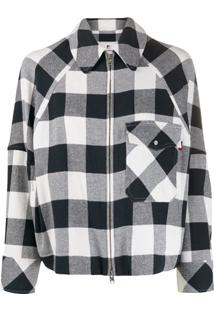 Woolrich Oversized Checked Print Short Jacket - Branco