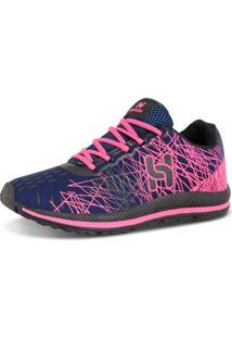 Tênis Headers Caminhada Confortável Azul E Rosa