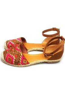 Espadrille Love Shoes Alpargata Aberta Bordado Captoe Caramelo