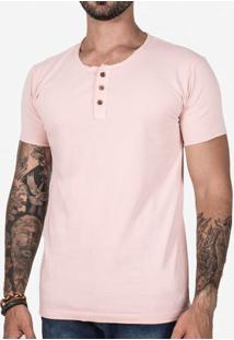 Camiseta Henley Rosa 102295