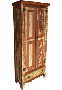 Armário Mineiro Rústico Em Madeira De Demolição, 1,70M De Altura, Com Resto De Tinta